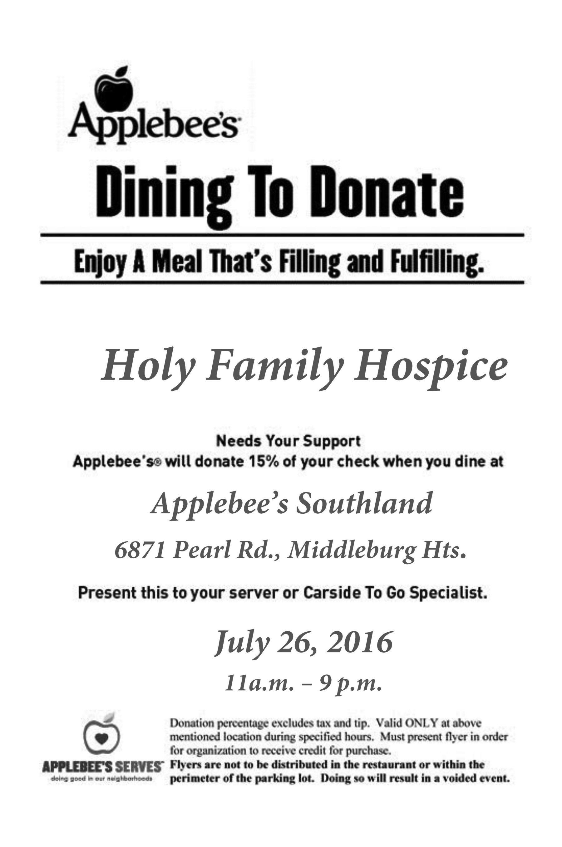 Dine to Donate at Applebees St Augustine Health Ministries – Donation Flyer Template